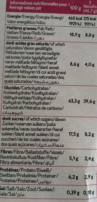 biscuit avoine banane chocolat - Voedingswaarden