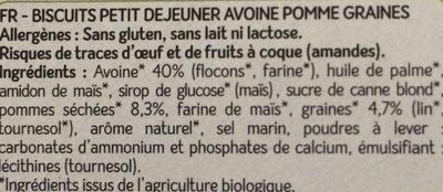 Petit Déjeuner Avoine Pomme Graines Bio - 140 G - Les Recettes De Céliane - Ingrédients - fr