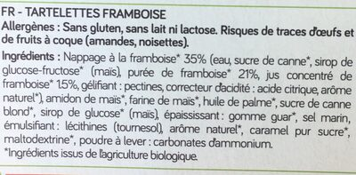 Tartelette framboise sans gluten - Ingredients