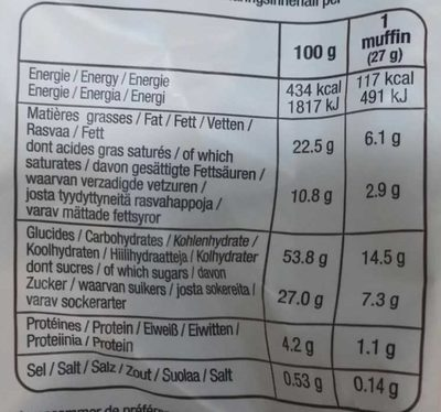 Moelleux fondant chocolat - Nutrition facts
