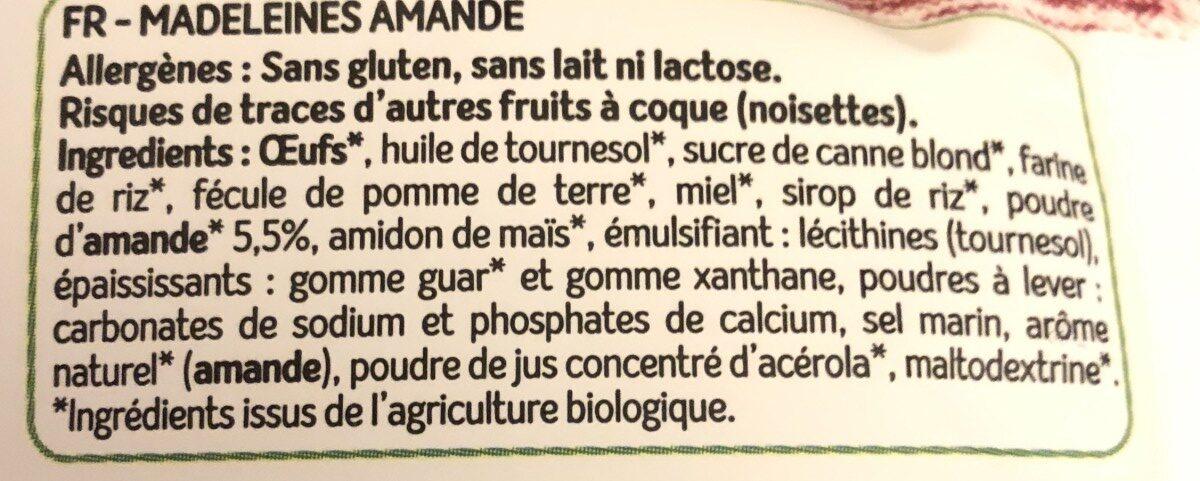 Madeleines amande - Ingredients