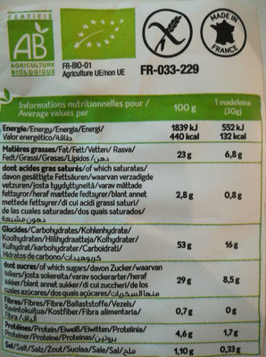 Madeleines amande - Nutrition facts