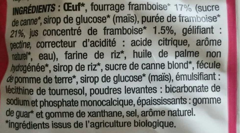 Moelleux cœur framboise - Ingrediënten - fr