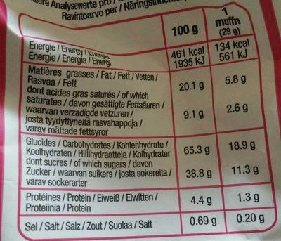 Moelleux cœur framboise - Voedingswaarden - fr