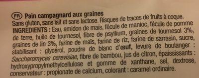 Pain Campagnard Aux Graines - 260 G - Les Recettes De Céliane - Ingrédients