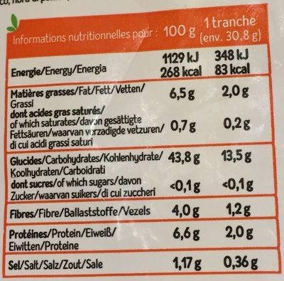 Pain de mie 3 graines bio - Valori nutrizionali - fr