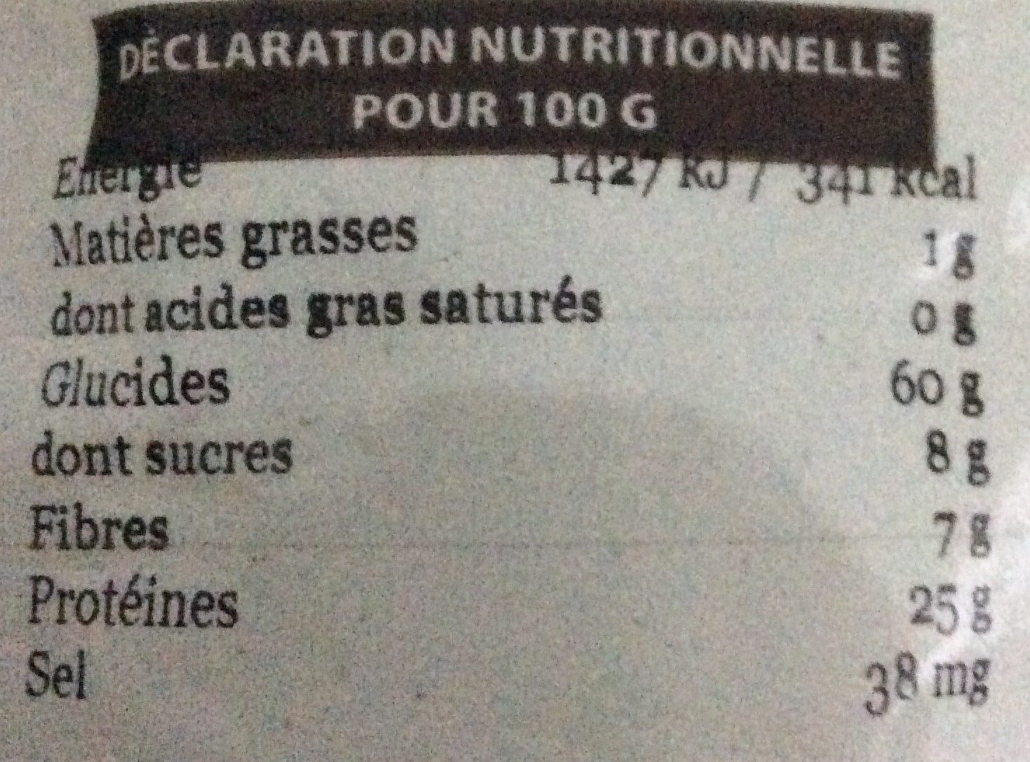 Pois cassės verts - Voedingswaarden - fr
