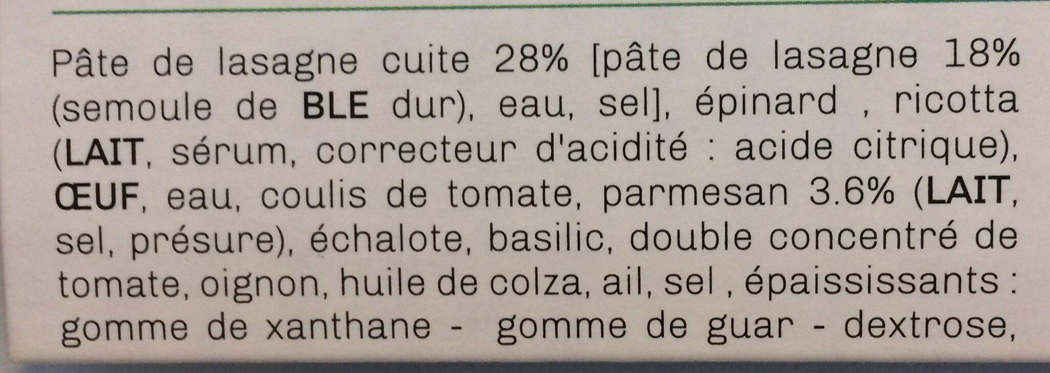 Lasagnes végétariennes - Ingrédients - fr