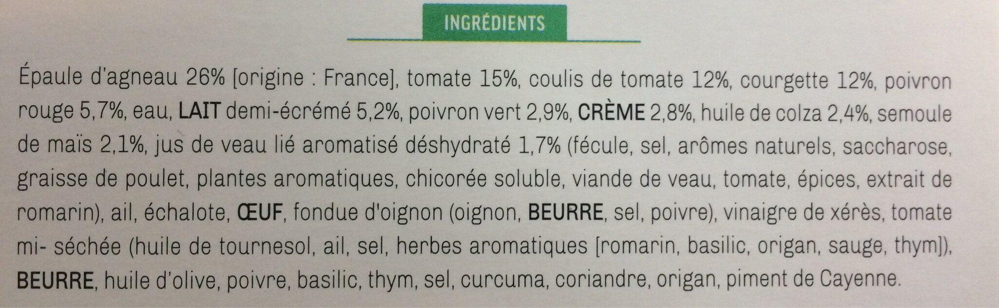 Navarin d'agneau, légumes du midi et sa polenta - Ingrédients - fr