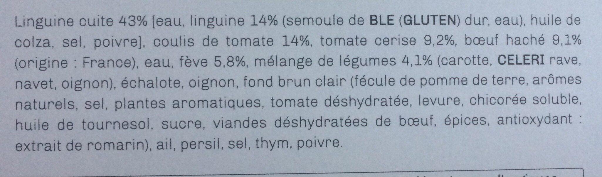 Linguine au boeuf et aux légumes cuisinés à la bolognaise - Ingrédients - fr