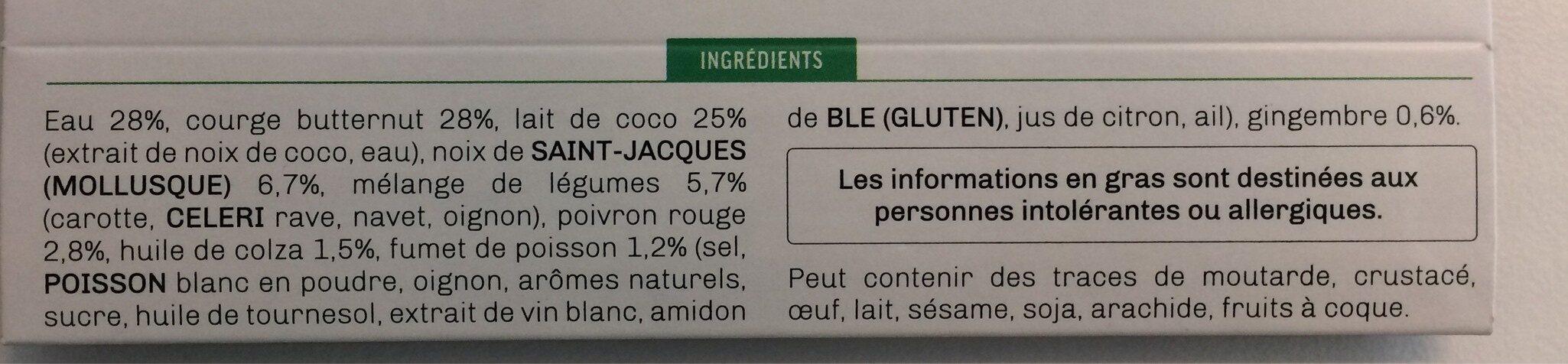 Velouté de butternut et ses St Jacques au lait de coco - Ingrédients - fr
