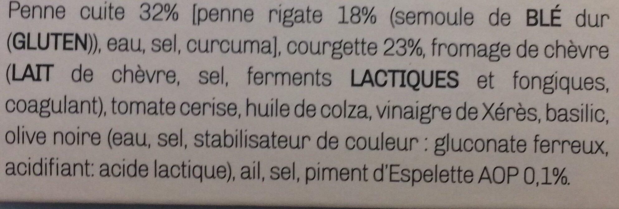 Salade de penne et petits légumes à la mediterranéenne - Ingrédients - fr