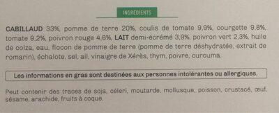 Pavé de cabillaud aux legumes de provence et son écrasé de pomme de terre - Ingrédients - fr
