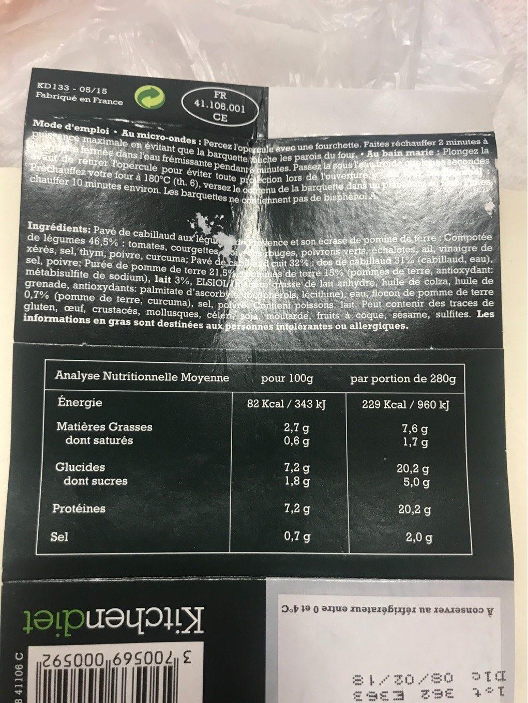 Pavé de cabillaud aux légumes de Provence et son écrasé de pomme de terre - Informations nutritionnelles - fr
