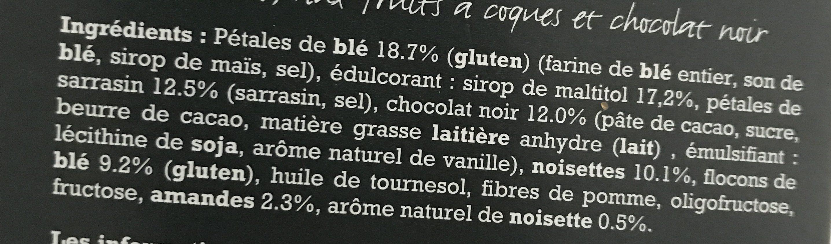 Barres de céréales noisettes, amandes, chocolat - Ingrediënten - fr
