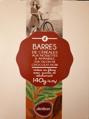BARRES DE CÉRÉALES AUX NOISETTES & AMANDES SUR TALON DE CHOCOLAT NOIR - Product