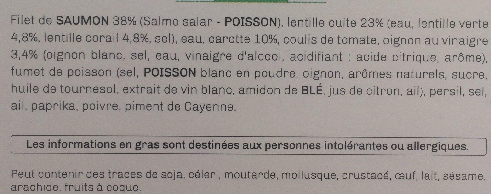 Dos de Saumon au Paprika, Duo de lentilles aux carottes et oignons - Ingrédients - fr