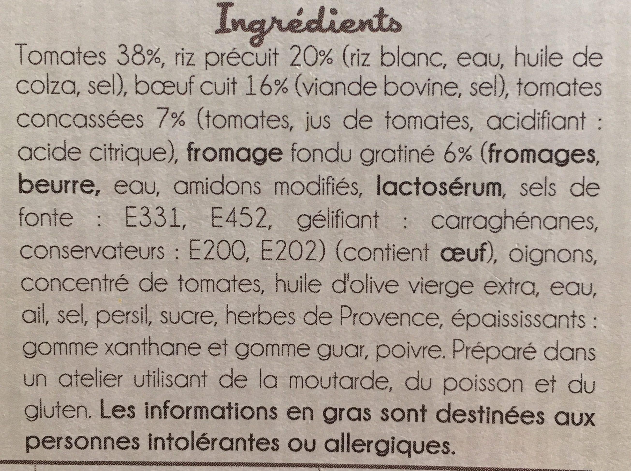 Gratin facon tomates farcies - Ingredients - fr