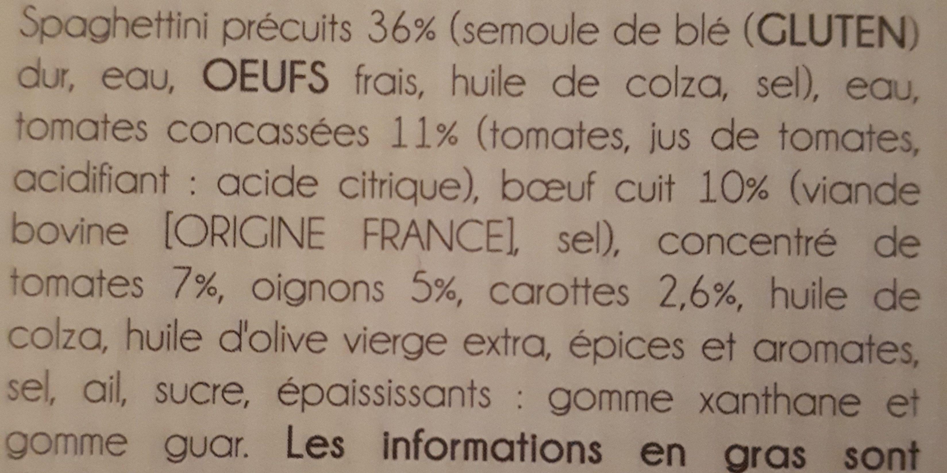 Fines Spaghetti et sa sauce bolognaise - Ingrédients - fr