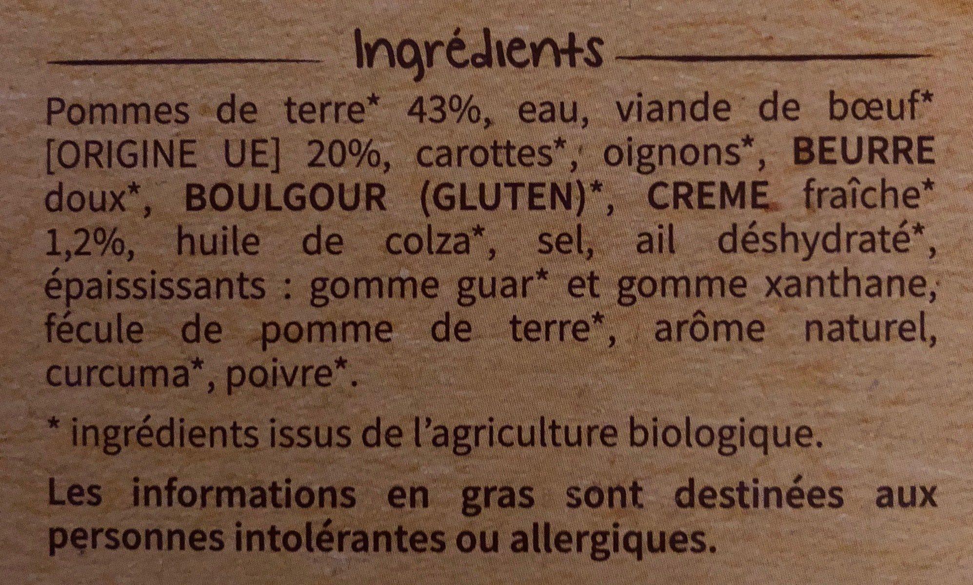 Hachis parmentier bio - Ingrédients - fr