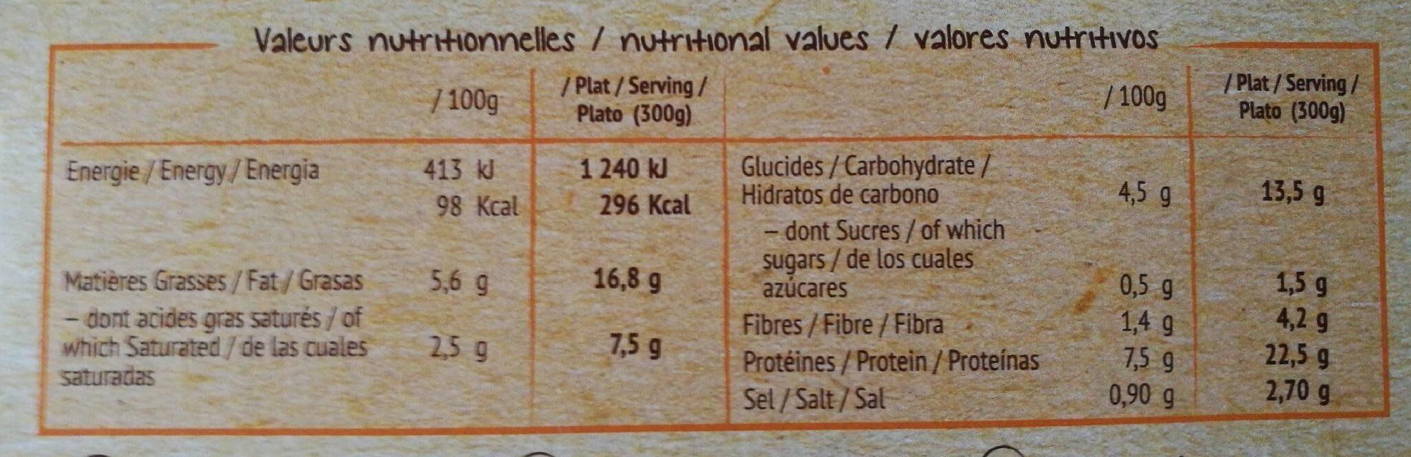 Hachis parmentier bio - Informations nutritionnelles - fr