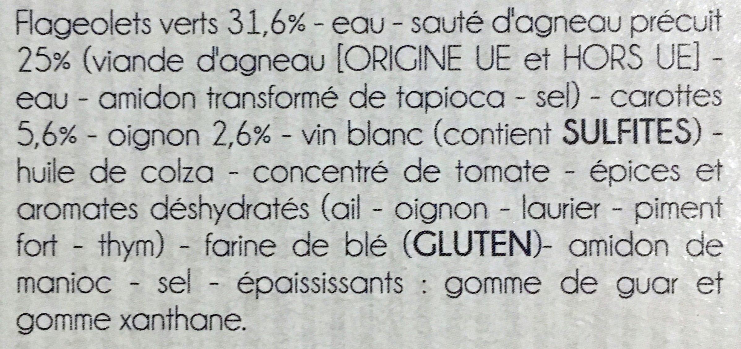 Émincé d'Agneau aux Flageolets Verts et Carottes - Ingrédients - fr