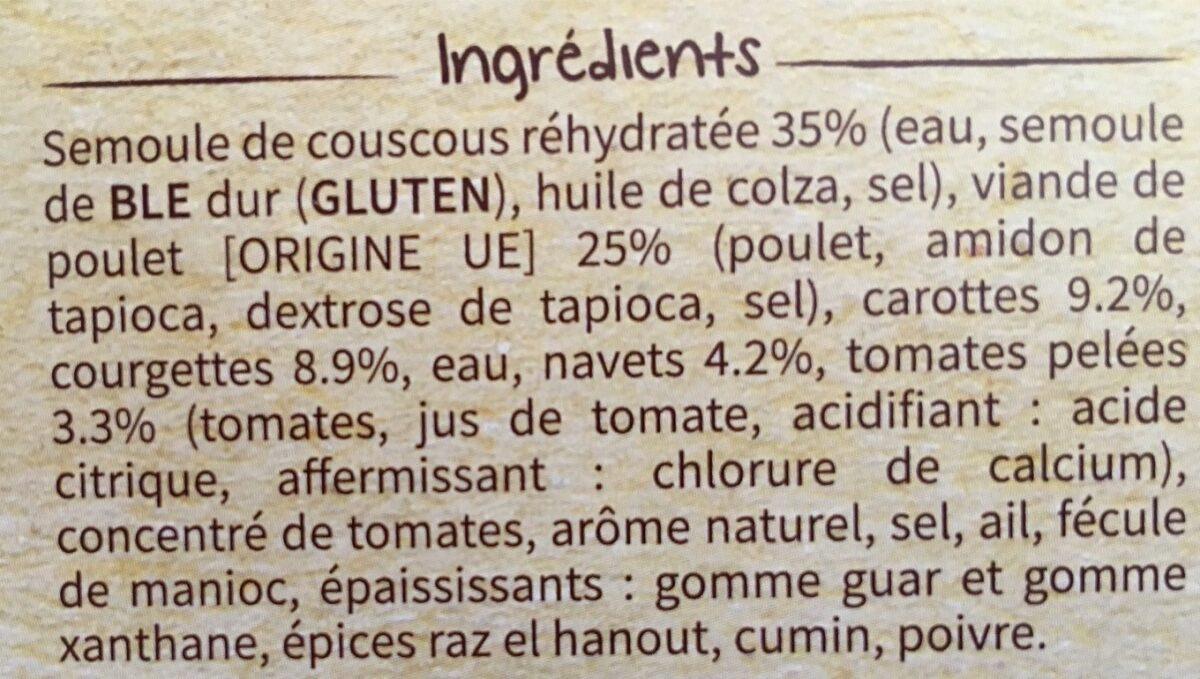 Couscous poulet et ses petits legumes - Ingrédients