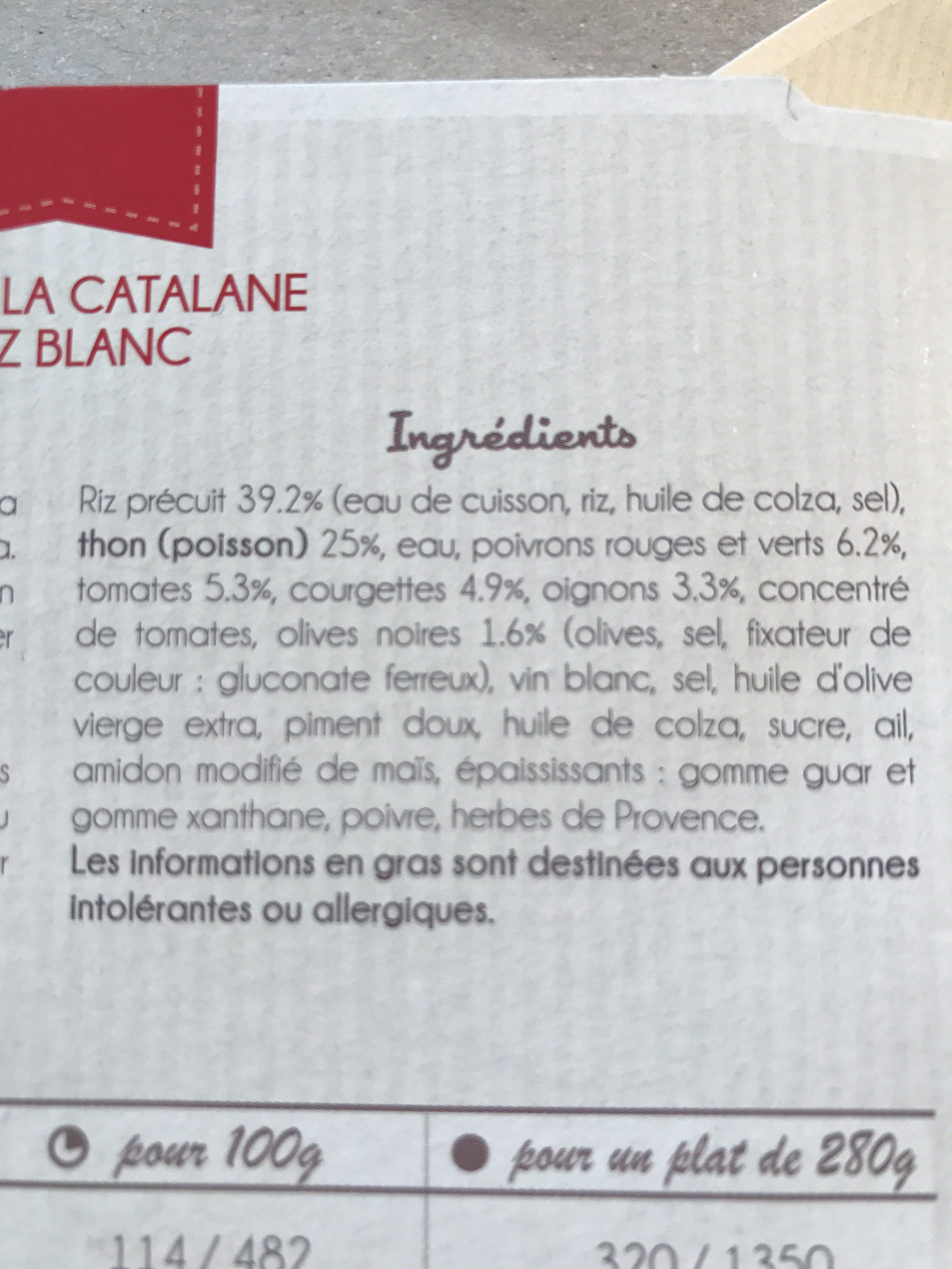 Thon à la Catalane et son riz blanc - Ingrédients - fr