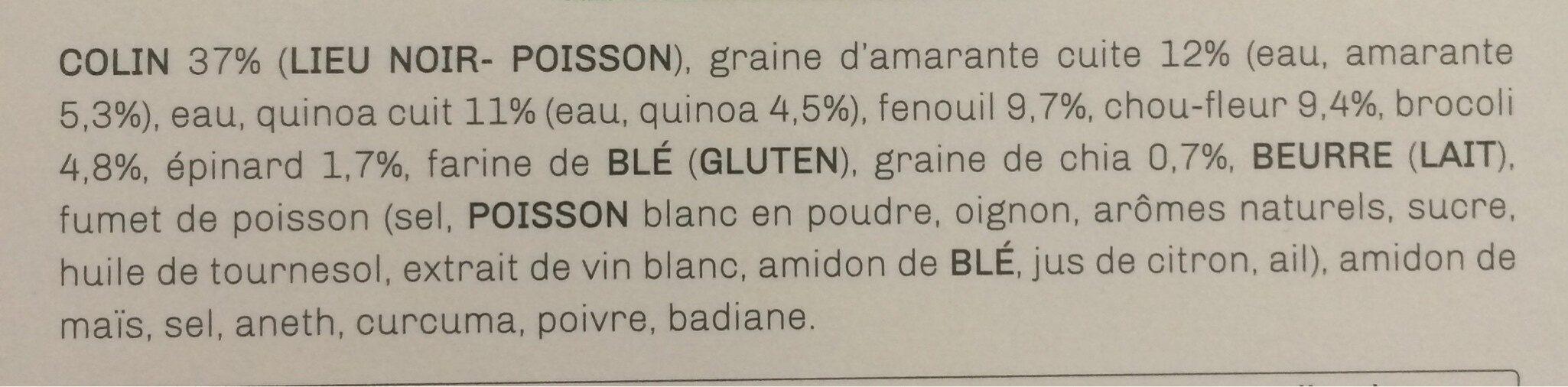 Pavé de lieu noir , trio quinoa - amarante - chia aux légumes verts - Ingrédients - fr