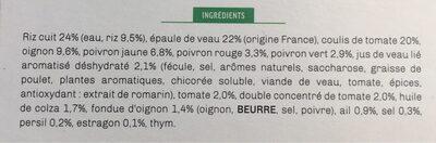 Veau aux légumes à la basquaise et son riz blanc - Ingrédients
