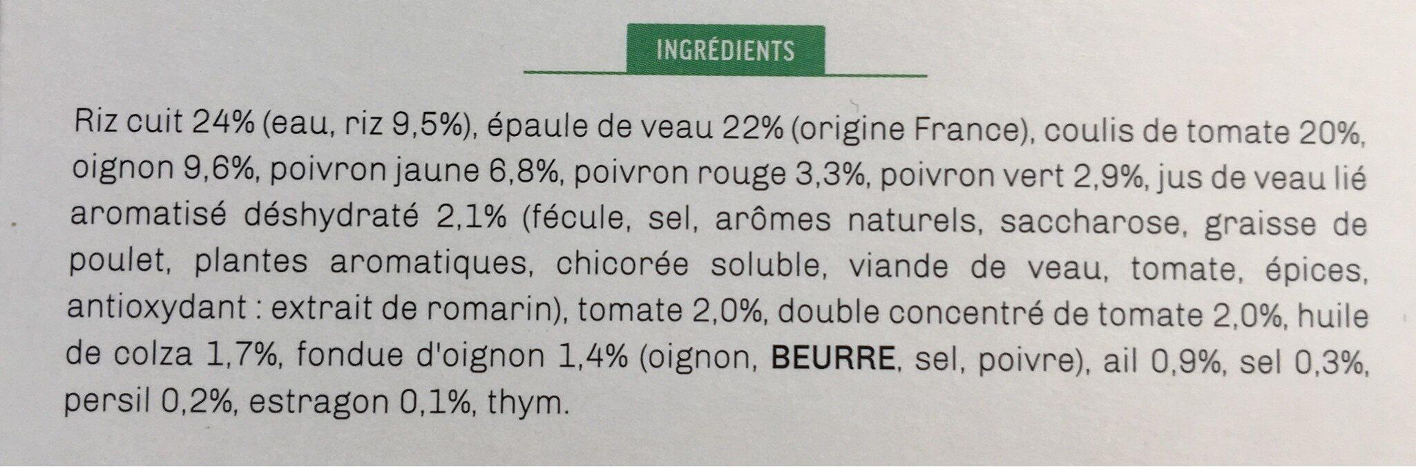 Veau aux légumes à la basquaise et son riz blanc - Ingredients