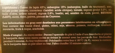 Cuisse de Lapin rôtie et ses légumes du Sud - Ingrédients - fr
