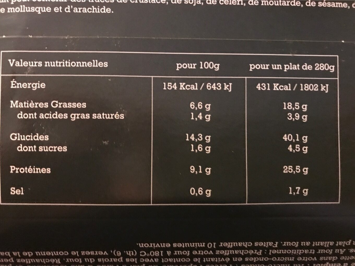 Lasagnes saumon et epinards - Nutrition facts