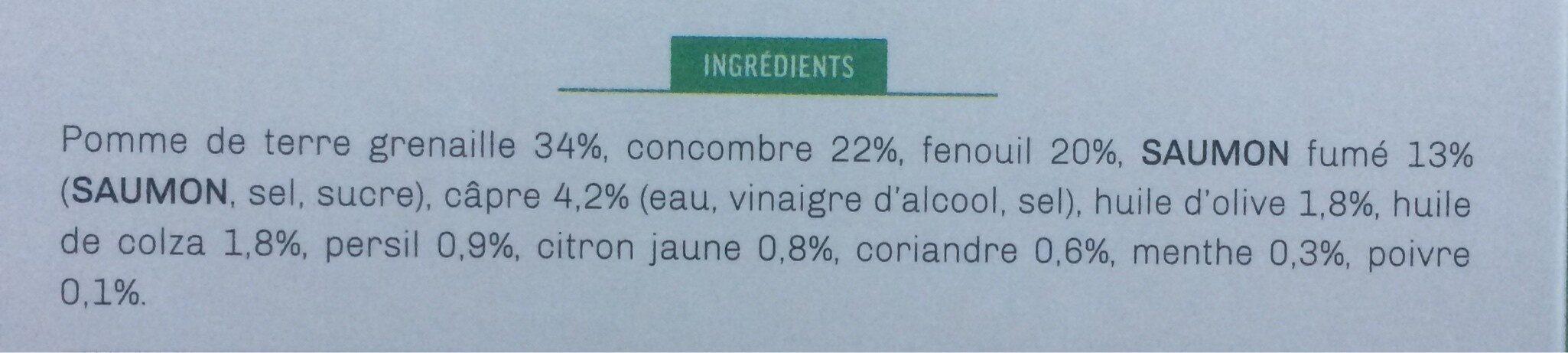 Salade nordique de pommes de terre et câpres au saumon fumé - Ingrédients - fr