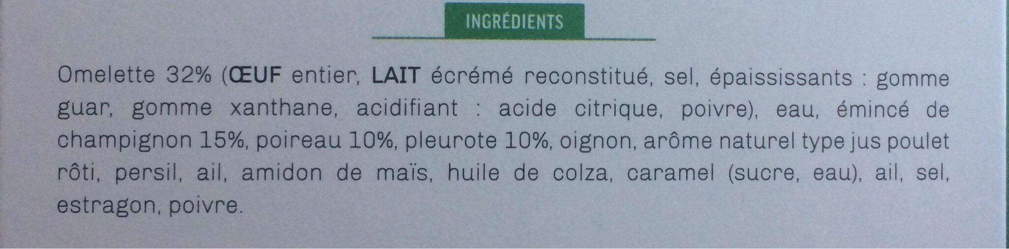 Omelette fondante et ses champignons en persillade - Ingrédients - fr