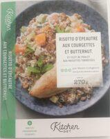 Risotto d'épeautre aux courgettes et butternut & filet de poulet aux noisettes torréfiées - Produit - fr