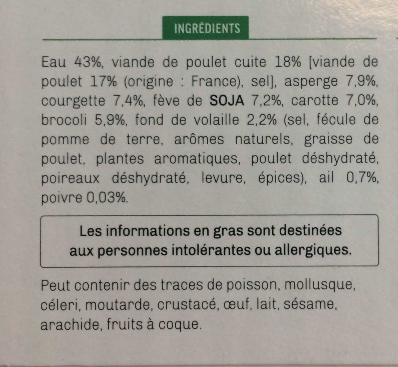 Bouillon Thaï à la volaille, vermicelle de riz et légumes croquants - Ingrédients - fr