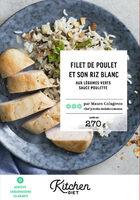 Filet de poulet et son riz blanc aux légumes verts sauce poulette - Produit - fr