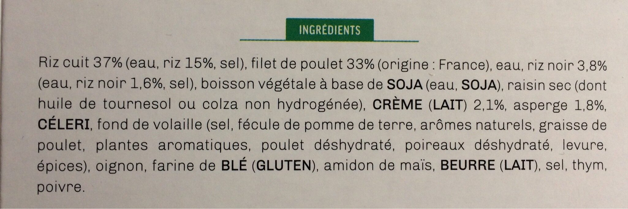 Filet de poulet et son riz blanc aux légumes verts sauce poulette - Ingrédients - fr
