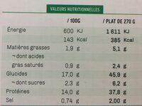 Filet de poulet et son riz blanc aux légumes verts sauce poulette - Informations nutritionnelles - fr