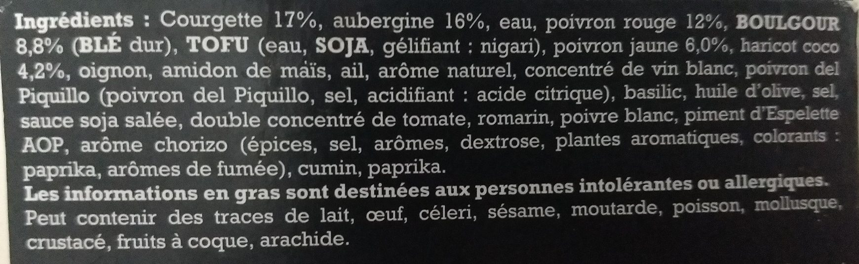 Risotto de Boulgour et ses Légumes, Crème de Chorizo Végétarien - Ingrédients - fr