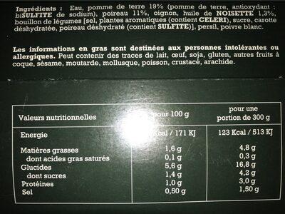 Soupe poireau pdt huile de noisette - Nutrition facts