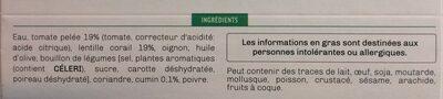 Soupe lentilles corail pointe cumin - Ingredients