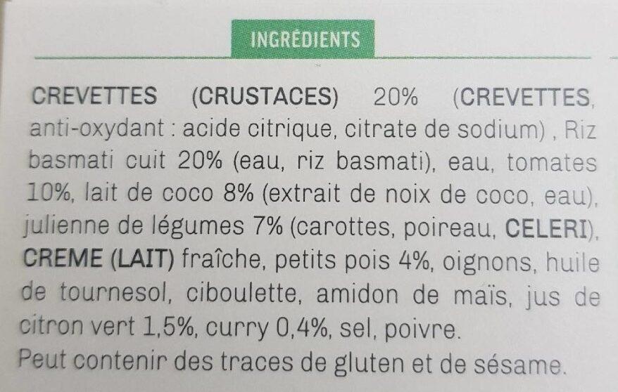Crevettes sauce curry coco et riz aux legumes - Ingrédients - fr