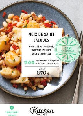 Noix de Saint Jacques, piquillos aux lardons, sauté de haricots coco & chou-fleur - Produit - fr