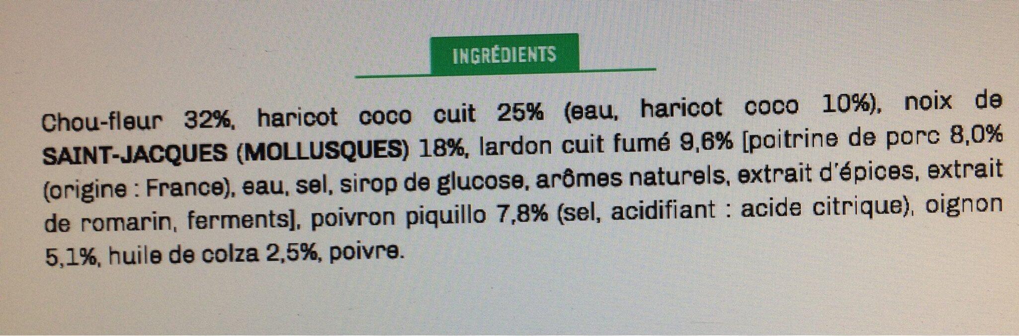 Noix de Saint Jacques, piquillos aux lardons, sauté de haricots coco & chou-fleur - Ingrédients - fr