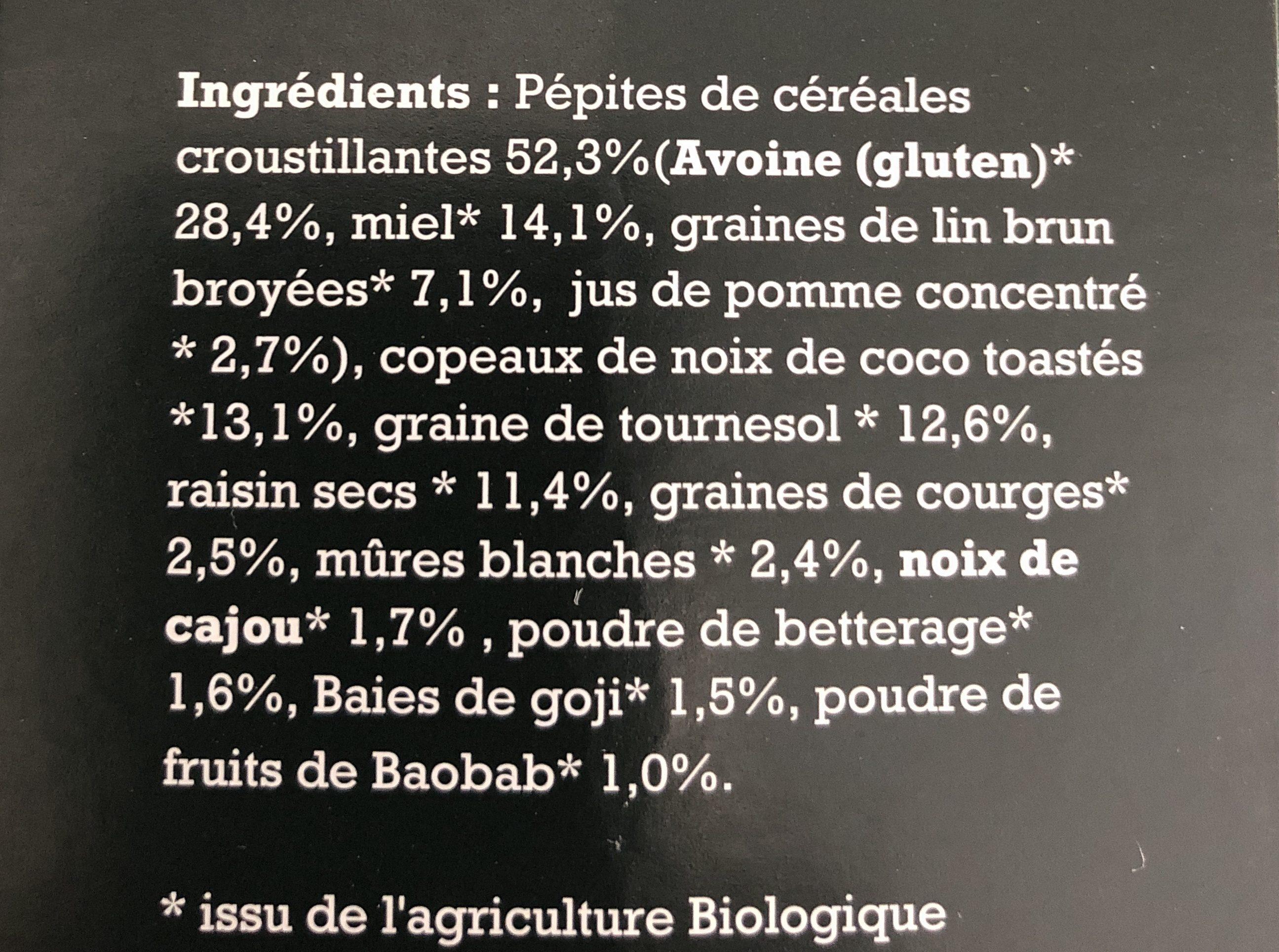 Muesli Croustillant aux super fruits BIO - Ingrédients - fr