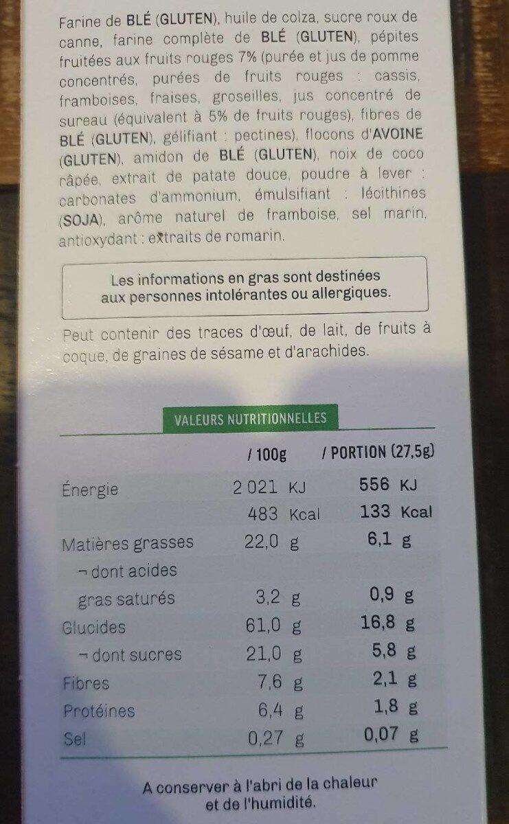Cookies rose aux fruits rouges - Informations nutritionnelles - fr