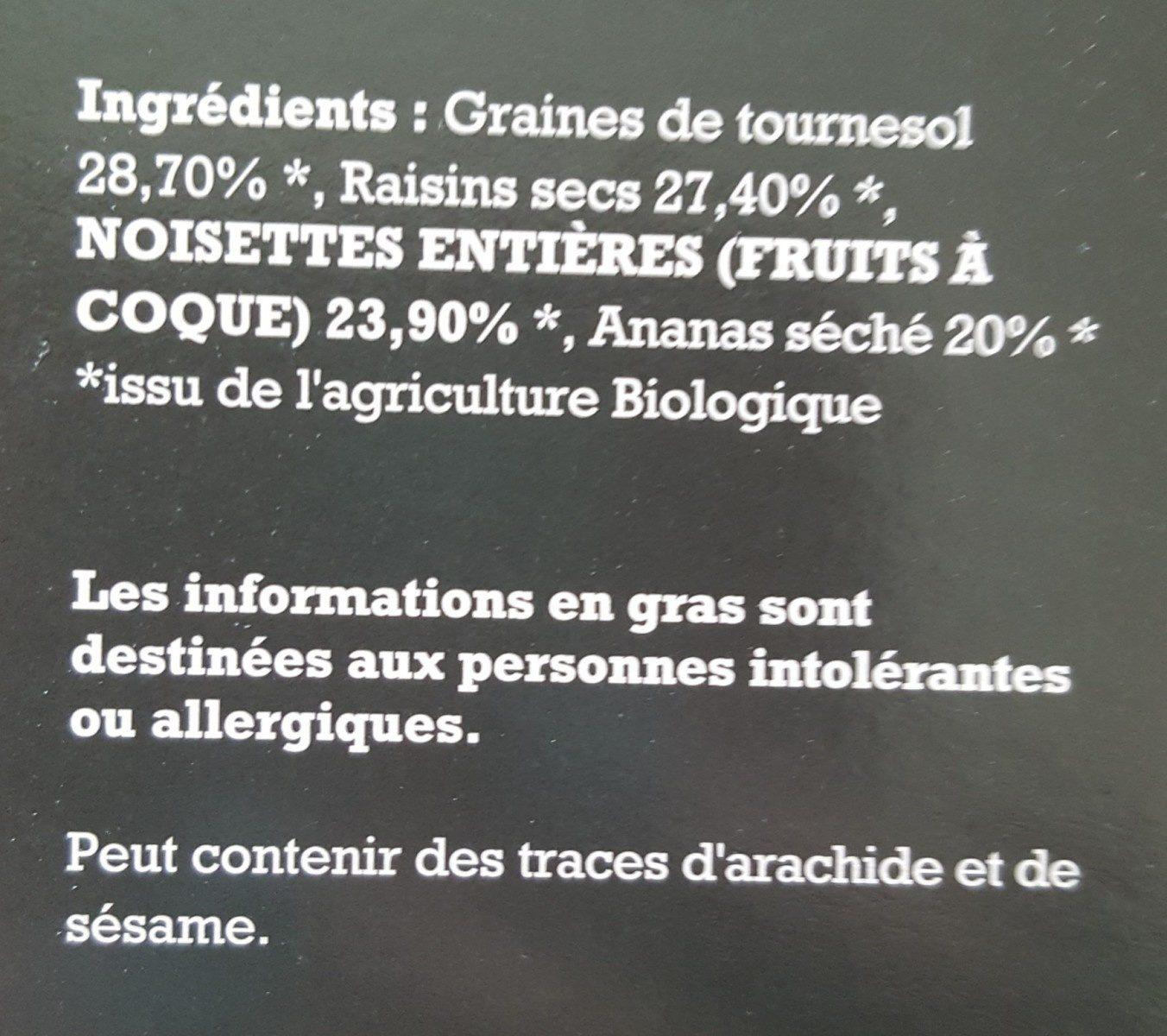 Glow Mix Bio Sans Gluten : Graines de tournesol, Raisins, Noisettes et Ananas - Ingrédients - fr
