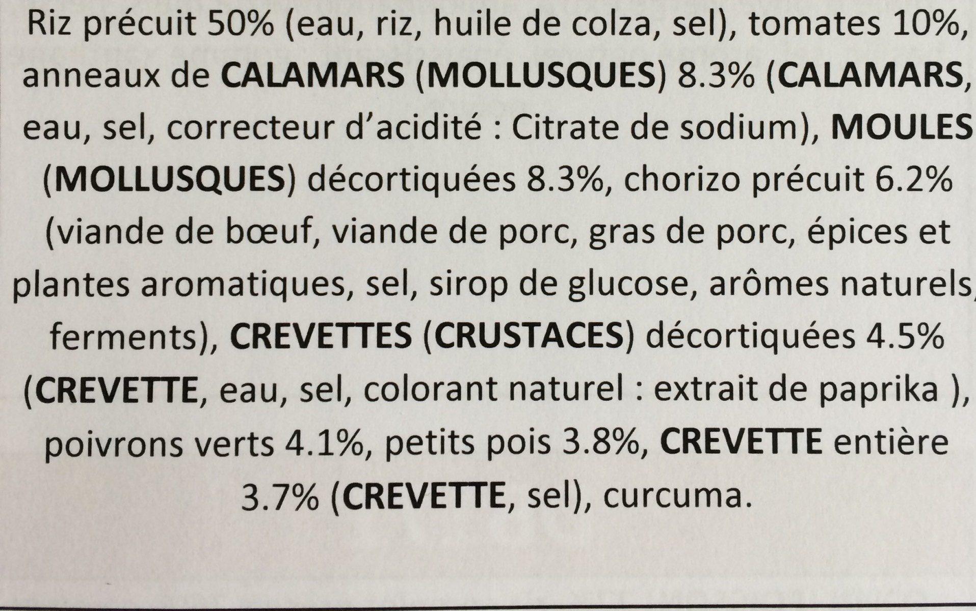 Paëlla aux fruits de mer & crevettes - Ingredients - fr